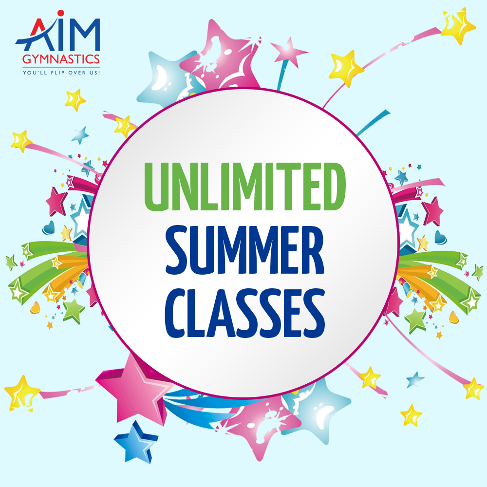 Advertisement for unlimited summer class promotion, where a student enrolled in a recreational gymnastics class at AIM Gymnastics' Ajax or Pickering location may take as many classes over the summer as he/she would like at no extra cost.